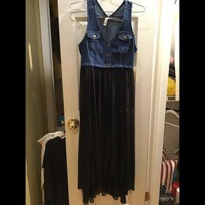 Forever 21 denim dress with sheer skirt.